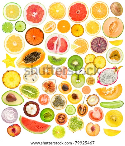 mega set of 56 different fruits and vegetables slices