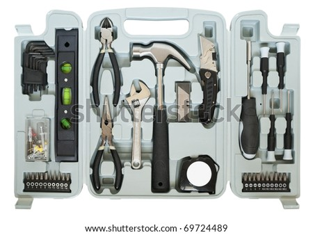 Mega tools set  in box for the home  master. Mass production. Isolated on white with patches