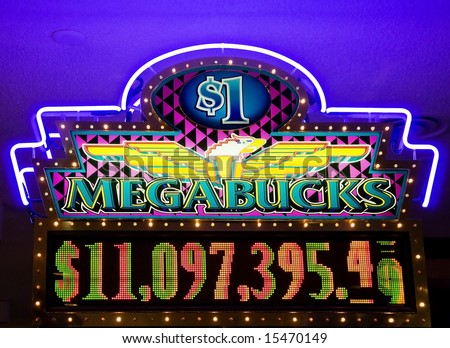 Megabucks - neon lights in casino