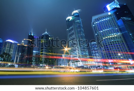 Megacity Highway at night dusk light trails in shanghai China