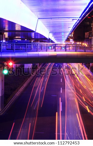 Megacity Highway at night with light trails in shanghai china