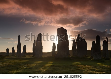 Megalithic stone circle of 3000 bc on the Isle of Lewis and Harris, Outer Hebrides, Scotland at sunset