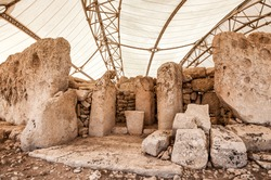 Megalitic temple complex  - Hagar Qim - archaeological exacavations in Malta