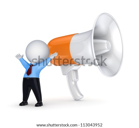 Megaphone and 3d small person.Isolated on white background.3d rendered.