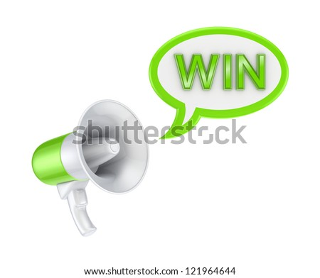 Megaphone and word WIN.Isolated on white background.3d rendered.