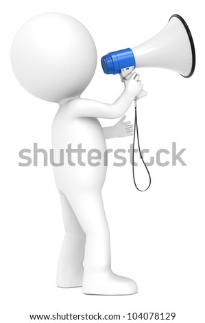 Megaphone. 3d little human character with a Megaphone. Blue and white. Side view.  People series.