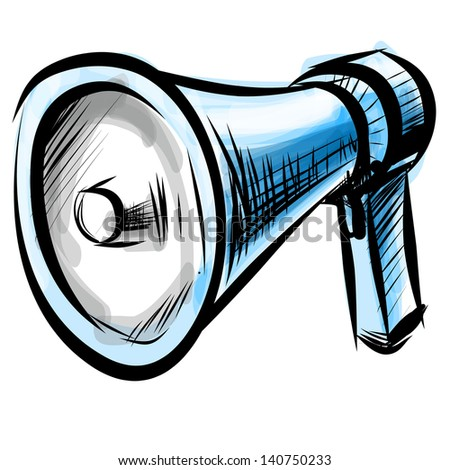 Megaphone. Hand drawing sketch illustration