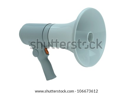 Megaphone handheld on white background