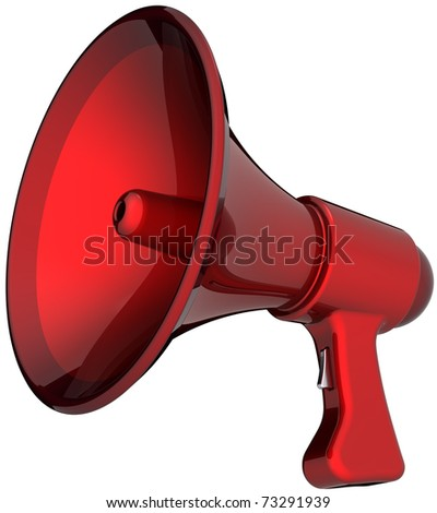 Megaphone hot news announcement alarm colored red. Beautiful shiny rescue loudspeaker. Help support leadership concept. This is a detailed render 3d (Hi-Res). Isolated on white background