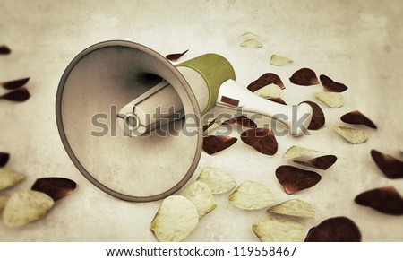 megaphone in old photo isolated on white background