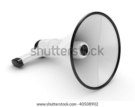 Megaphone isolated on a white background realistic 3d rendering