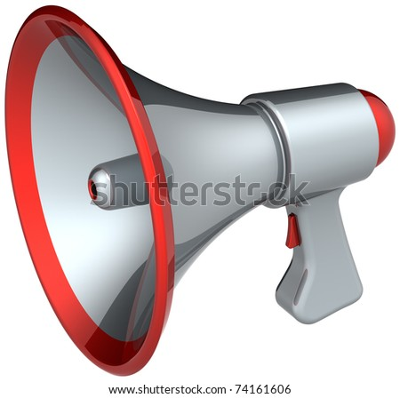Megaphone news speech loudspeaker. This is a detailed render 3d (Hi-Res). Isolated on white background