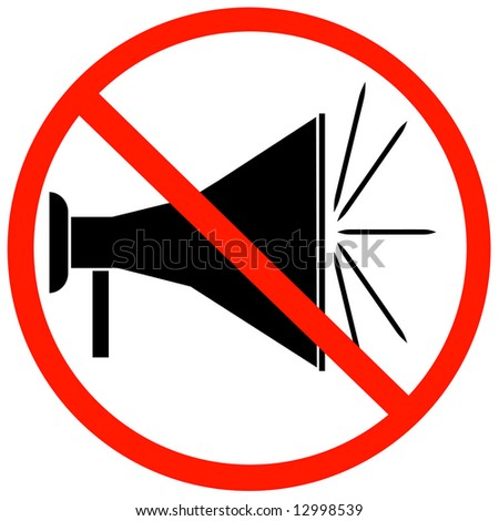 megaphone or bullhorn with red not allowed sign or symbol