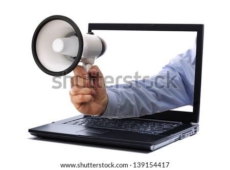 Megaphone through a laptop computer monitor
