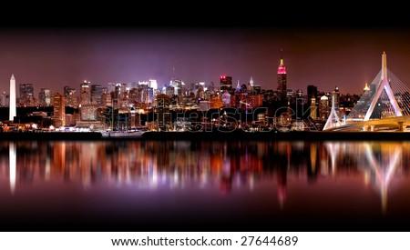 Megatropolis, a composite image of Boston, New York, Philadelphia, Baltimore and Washington DC all photographed on the same evening.