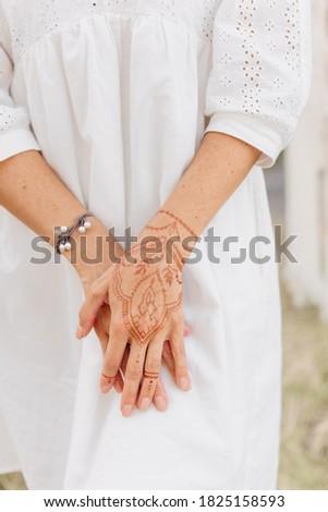 mehendi on hand, henna drawings on the body   Stock photo ©