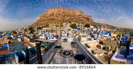 Meherangarh fort dominating the city - Jodhpur, Rajasthan, India
