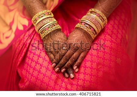 Mehndi, application of henna as skin decoration in Indian Wedding.
