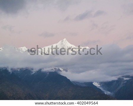 Meili snow mountain, Kawagebo peak, highest peak 6,740 meter in Yunnan, Deqen, China