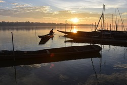 Mekong early morning,villager prepare boat to fishing , Nakhon Phanom Thailand , Border Thailand and Lao
