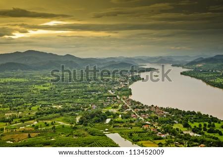 Mekong river at dusk