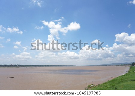 Mekong River in Thailand consists of bright sky.