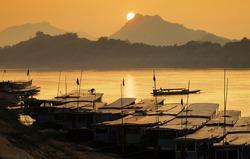 Mekong river,port, Luang Prabang, laos