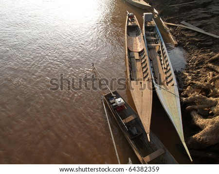Mekong River with boat  in Laos