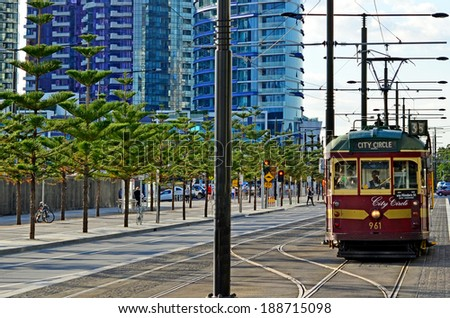 MELBOURNE, AUS - APR 14 2014: W class tram in City Circle service.It\'s a zero-fare tram  aimed mainly for tourists running around the central business district of Melbourne, Australia.