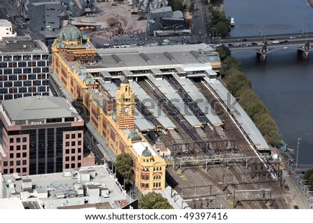 Melbourne, Australia. Aerial view of famous Flinders Street station and Yarra River.