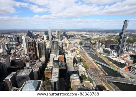 Melbourne, Australia. Aerial view of skyscraper city. Central business district (CBD).