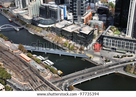 Melbourne, Australia. Aerial view of skyscraper city. Central business district (CBD) and Yarra River bridges.