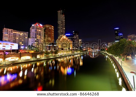 Melbourne, Australia, by night.  View of Yarra River towards Southbank.