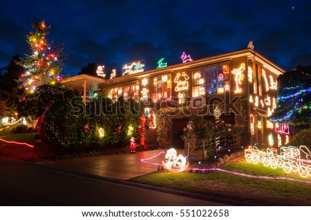 melbourne australia december 10 2016 a house decorated with christmas lights in