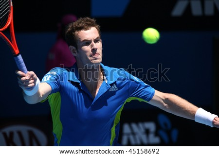 MELBOURNE, AUSTRALIA - JANUARY 24: Andy Murray in his win over John Isner during  the 2010 Australian Open on January 24, 2010 in Melbourne, Australia