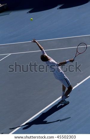 MELBOURNE, AUSTRALIA - JANUARY 26: Andy Roddick vs Marin Cilic's (Croatia) quarter finals game during the 2010 Australian Open on January 26, 2010 in Melbourne, Australia