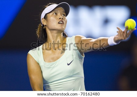 MELBOURNE, AUSTRALIA - JANUARY 29: Australian Open Women's Final, Na Li(CHN)[9] who was defeated by Kim Clijsters(BEL)[3] on January 29, 2011 in Melbourne, Australia