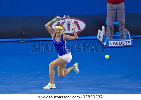 MELBOURNE, AUSTRALIA - JANUARY 28: Australian Open Women's Final, Victoria Azarenka of Belarus who defeated Maria Sharapova of Russia on January 28, 2012 in Melbourne, Australia