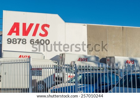 MELBOURNE, AUSTRALIA - January 4, 2015: Avis Rent a Car is a US car hire company with offices worldwide, such as here in Nunawading, in suburban Melbourne.