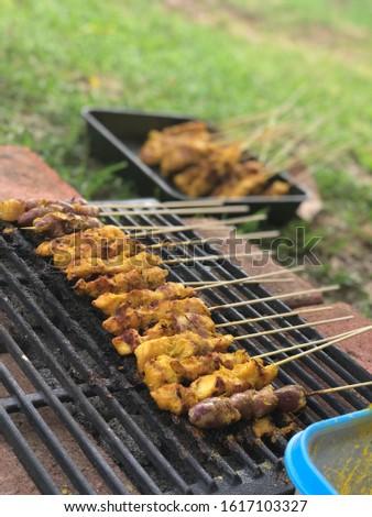 Melbourne, Australia - 5 January 2020 : bbq satay chicken malaysian traditional food
