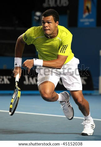 MELBOURNE AUSTRALIA JANUARY 23 Jo-Wilfried Tsonga of France in his third round match against Tommy Haas of Germany during the 2010 Australian Open on January 23 2010 in Melbourne Australia