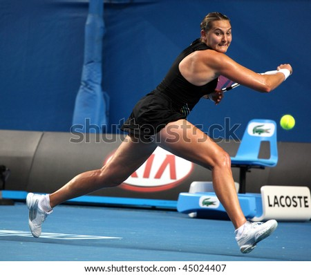 MELBOURNE, AUSTRALIA - JANUARY 22: Nadia Petrova of Russia during her win over Kim Clijsters of Belgium in the 2010 Australian Open on January 22, 2010 in Melbourne, Australia