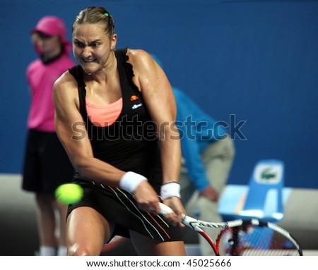 MELBOURNE, AUSTRALIA - JANUARY 22: Nadia Petrova of Russia during her win over Kim Clijsters of Belgium in the 2010 Australian Open on January 22, 2010 in Melbourne, Australia