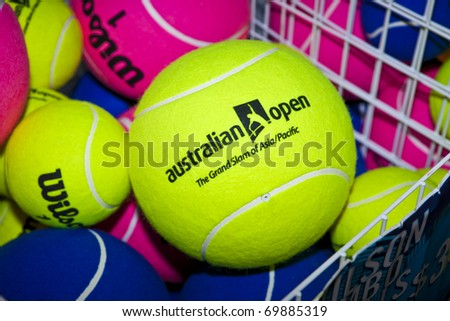 MELBOURNE, AUSTRALIA - JANUARY 26: Novelty tennis balls for sale at the Rod Laver Arena which holds the center court at the Australian Open, January 26, 2011 in Melbourne, Australia