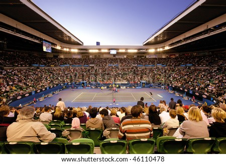MELBOURNE, AUSTRALIA - JANUARY 27: Quarter final at Rod Laver Arena during the 2010 Australian Open on January 27, 2010 in Melbourne, Australia
