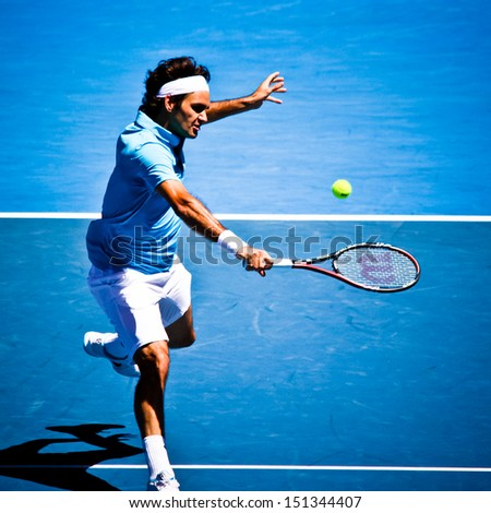 MELBOURNE, AUSTRALIA - JANUARY 25: Roger Federer inhis win over Lleyton Hewitt during the 2010 Australian Open on January 25, 2010 in Melbourne, Australia - stock photo