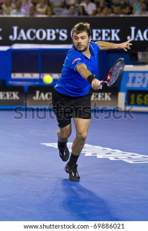 MELBOURNE, AUSTRALIA - JANUARY 23: Stanislas Wawrinka(SUI)[19] who defeated Andy Roddick(USA)[8] at the Australian Open on January 23, 2011 in Melbourne, Australia