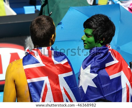 MELBOURNE, AUSTRALIA - JANUARY 26: Tennis fans at the Australian Open January 26, 2010 in Melbourne, Australia