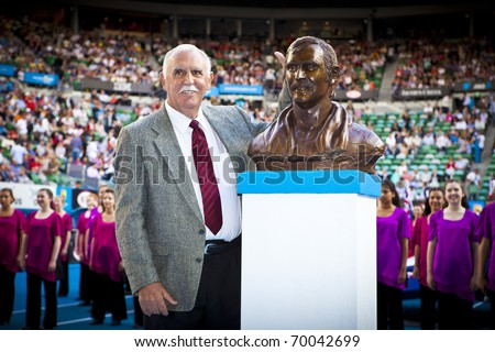 MELBOURNE, AUSTRALIA - JANUARY 26: Tennis legend Owen Davidson was today inducted into the Australian Tennis Hall of Fame at the Australian Open on January 26, 2011 in Melbourne, Australia