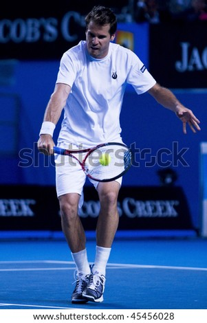 MELBOURNE, AUSTRALIA - JANUARY 23: Tommy Haas of Germany in his third round match against TJo-Wilfried Tsonga of France the 2010 Australian Open on January 23, 2010 in Melbourne, Australia